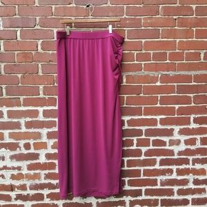 LANE BRYANT Long Skirt Size 22 24 Maroon Stretch